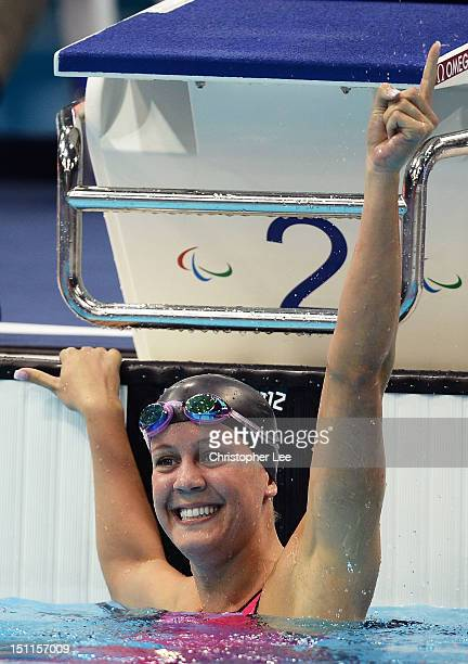 Mallory Weggemann of the United States celebrates after winning the gold in the Women's 50m Freestyle S8 final on day 4 of the London 2012 Paralympic...
