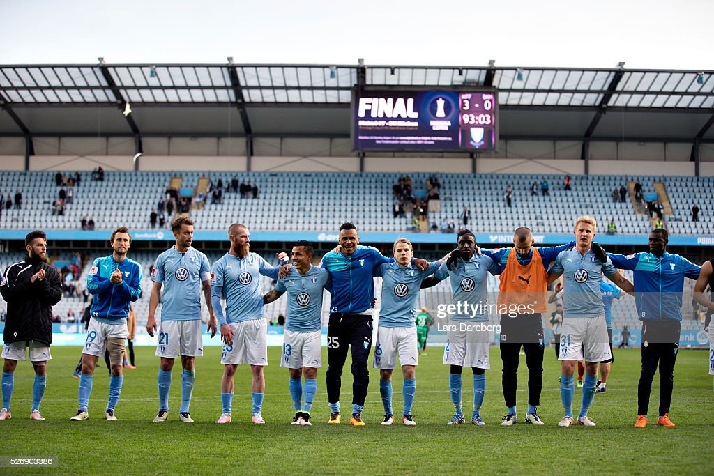 Malmo FF after the Allsvenskan match between Malmo FF and BK Hacken at Swedbank Stadion on May 1, 2016 in Malmo, Sweden.