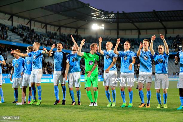 Malmo FF celebrate after the Allsvenskan match between Malmo FF and Kalmar FF at Swedbank Stadion on August 11 2017 in Malmo Sweden