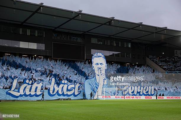 Malmo FF fans during the Allsvenskan match between Malmo FF and Hammarby IF at Swedbank Stadion on November 6 2016 in Malmo Sweden
