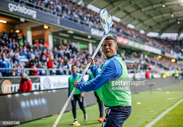 Malmo FF soccer player Tobias Sana reacts after being hit by a large firecracker from the stands during the IFK Goteborg vs Malmo FF match on April...