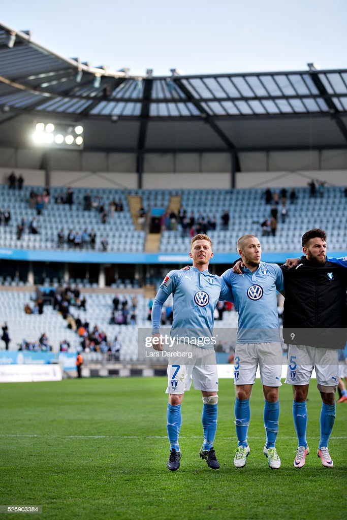 Malmo FF with Anders Christiansen of Malmo FF, Anton Tinnerholm of Malmo FF and Erdal Rakip of Malmo FF after the Allsvenskan match between Malmo FF and BK Hacken at Swedbank Stadion on May 1, 2016 in Malmo, Sweden.