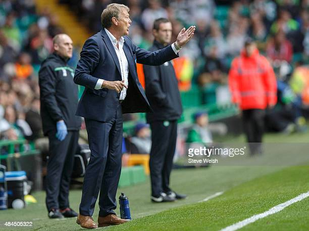 Malmo manager Age Hareide reacts during the UEFA Champions League Qualifying Round Play off First Leg match between Celtic and Malmo FF at Celtic...