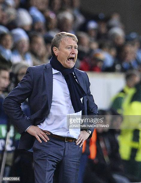 Malmo's head coach Age Hareide reacts during the UEFA Champions League group A football match Malmo FF vs Juventus at the Swedbank Stadion in Malmo...