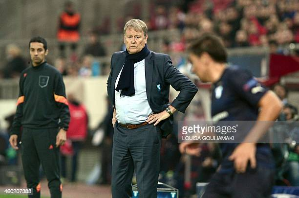 Malmo's Norwegian coach Age Hareide looks on during their UEFA Champions League Group A football match Olympiakos vs Malmo FF at the Karaiskaki...