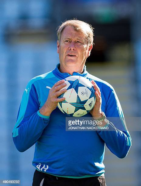 Malmo's Norwegian headcoach Age Hareide attends a training session at the Swedbank Stadion on September 29 on the eve of the UEFA Champions League...