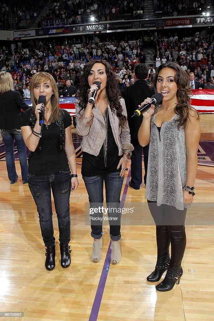 Maloof Music group Petrel performs the National Anthem prior to the game between the Houston Rockets and the Sacramento Kings at Arco Arena on April 12, 2010 in Sacramento, California. The Rockets won 117-107.
