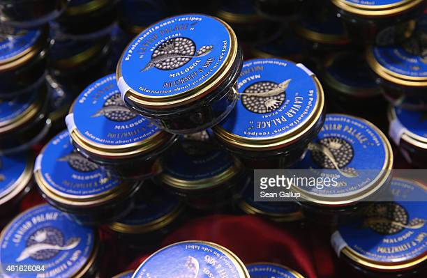 Malosol sturgeon caviar from Russia lies on display at the International Green Week agricultural trade fair on January 16 2015 in Berlin Germany The...