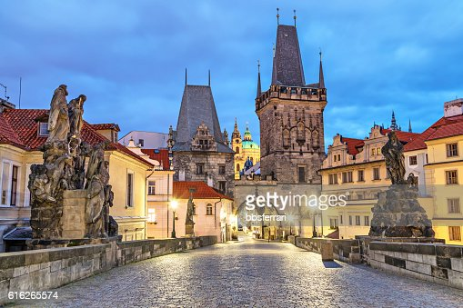 Malostranska tower on Charles bridge in Pragu : Stock Photo