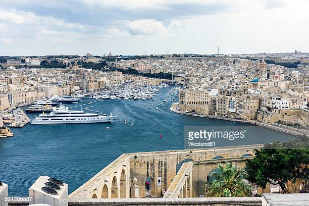 Malta, Valletta, view on the cities Cospicua, Senglea and the Vittoriosa Yacht Marina