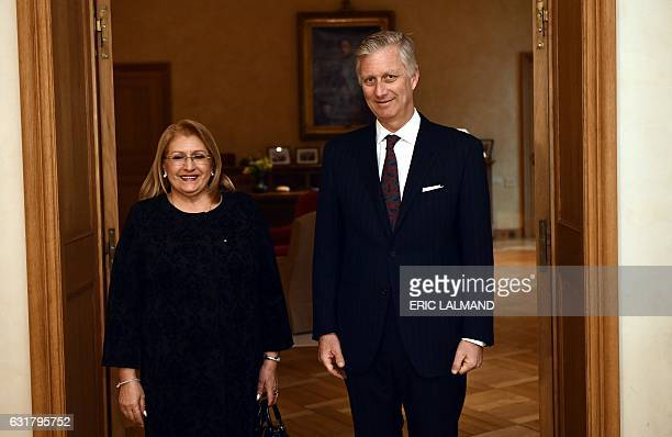 Malta's President MarieLouise Coleiro Preca and Belgium's King Philippe Filip of Belgium pose during an audience at the Royal Palace in Brussels on...