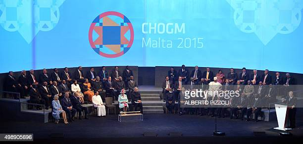 Malta's Prime Minister Joseph Muscat delivers a speech during the opening ceremony of the Commonwealth Heads of Government Meeting at the...