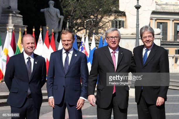 Malta's Prime Minister Joseph Muscat European Council President Donald Tusk Commission President JeanClaude Juncker and Italy's Prime Minister Paolo...