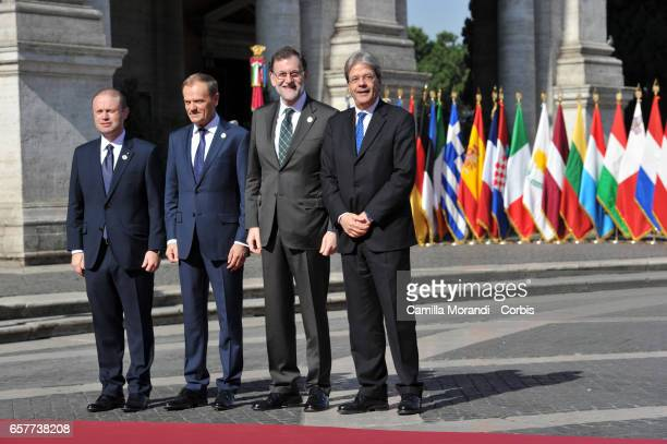 Malta's Prime Minister Joseph Muscat European Council President Donald Tusk Spain's Prime Minister Mariano Rajoy Brey and Italy's Prime Minister...
