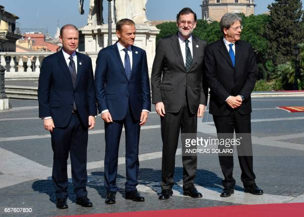 Malta's Prime minister Joseph Muscat President of the European Council Donald Tusk Spain's Prime Minister Mariano Rajoy Brey and Italy's Prime...