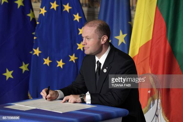 Malta's Prime Minister Jospeh Muscat signs the new Rome declaration with leaders of 27 European Union countries special during a summit of EU leaders...