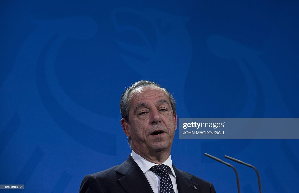 Malta's Prime Minister Lawrence Gonzi addresses a press conference following talks with German Chancellor Merkel at the chancellery in Berlin Germany...