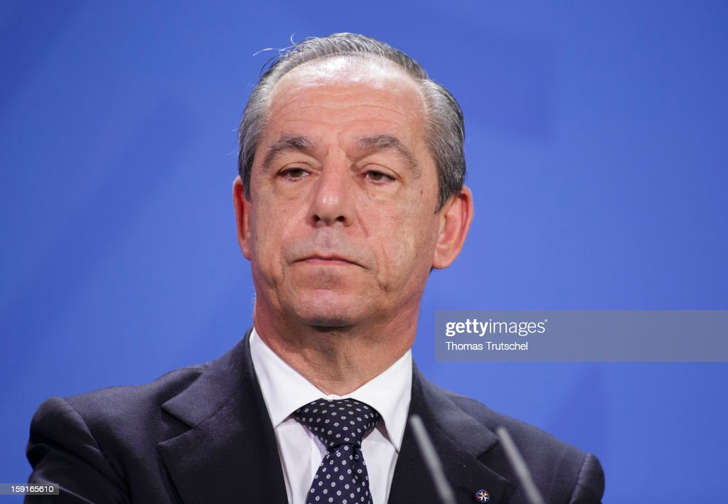 Malta's Prime Minister Lawrence Gonzi is pictured during a press conference at Chancellery with German Chancellor Angela Merkel on January 9 2013 in...