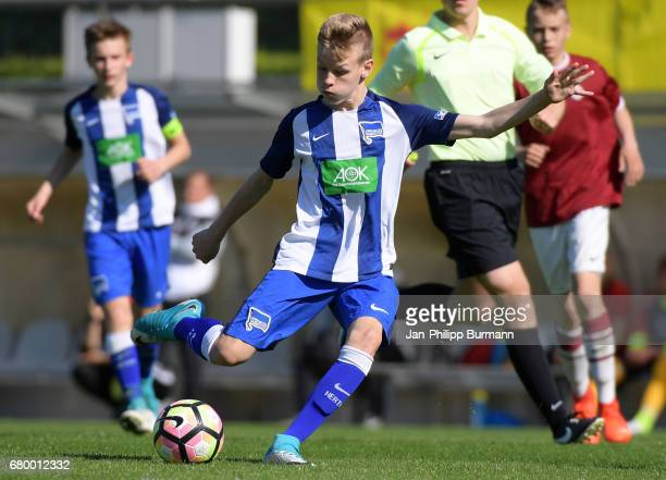 Malte Fuerst of Hertha BSC U14 during the game of the 3rd place during the Nike Premier Cup 2017 on may 7 2017 in Berlin Germany