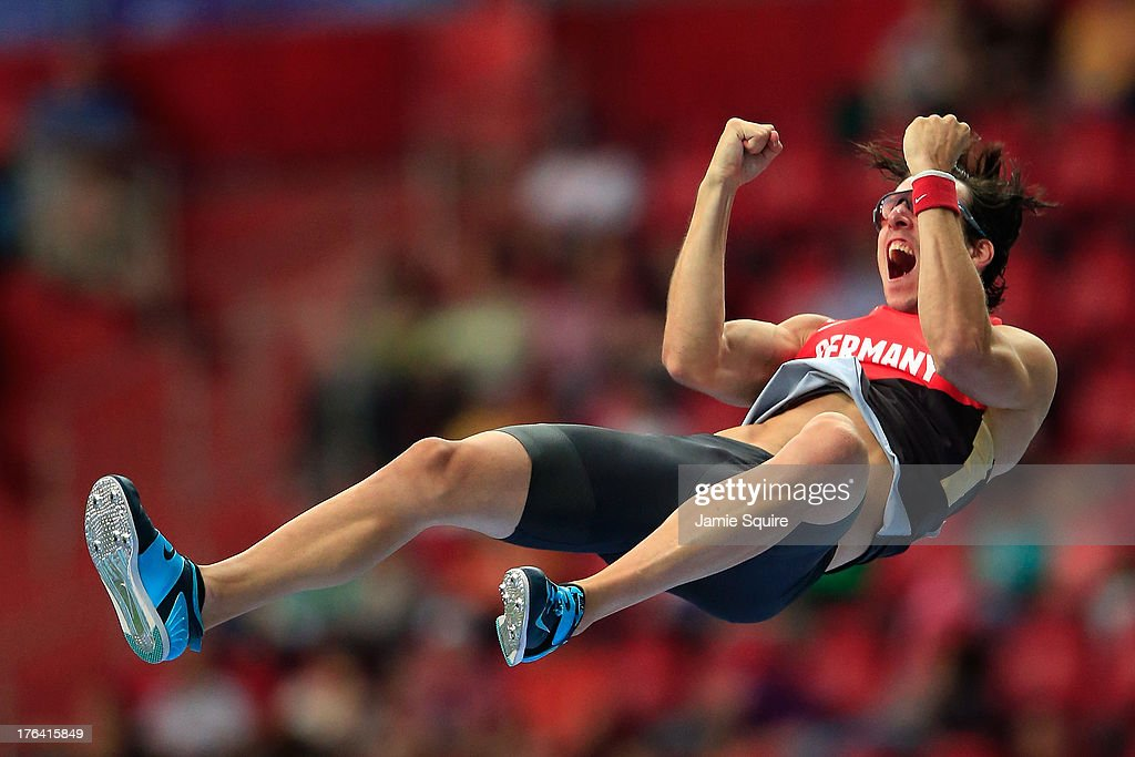 <a gi-track='captionPersonalityLinkClicked' href=/galleries/search?phrase=Malte+Mohr&family=editorial&specificpeople=5517776 ng-click='$event.stopPropagation()'>Malte Mohr</a> of Germany celebrates a jump in the Men's Pole Vault final during Day Three of the 14th IAAF World Athletics Championships Moscow 2013 at Luzhniki Stadium on August 12, 2013 in Moscow, Russia.