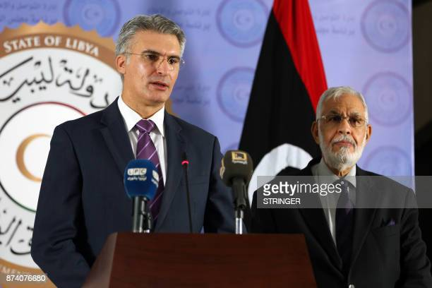 Maltese Minister for Foreign Affairs and Trade Promotion Carmelo Abela speaks during a press conference with Libya's unity government Foreign...