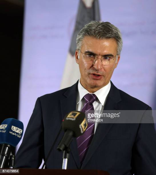 Maltese Minister for Foreign Affairs and Trade Promotion Carmelo Abela speaks during a press conference in the Libyan capital Tripoli on November 14...