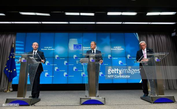 Maltese Prime Minister Joseph Muscat European Council President Donald Tusk and EU Commission President Jean Claude Juncker give a joint press...