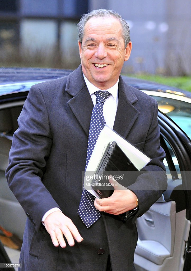 Maltese Prime Minister Lawrence Gonzi arrives at the EU Headquarters on February 7 2013 in Brussels on the first day of a twoday European Union...