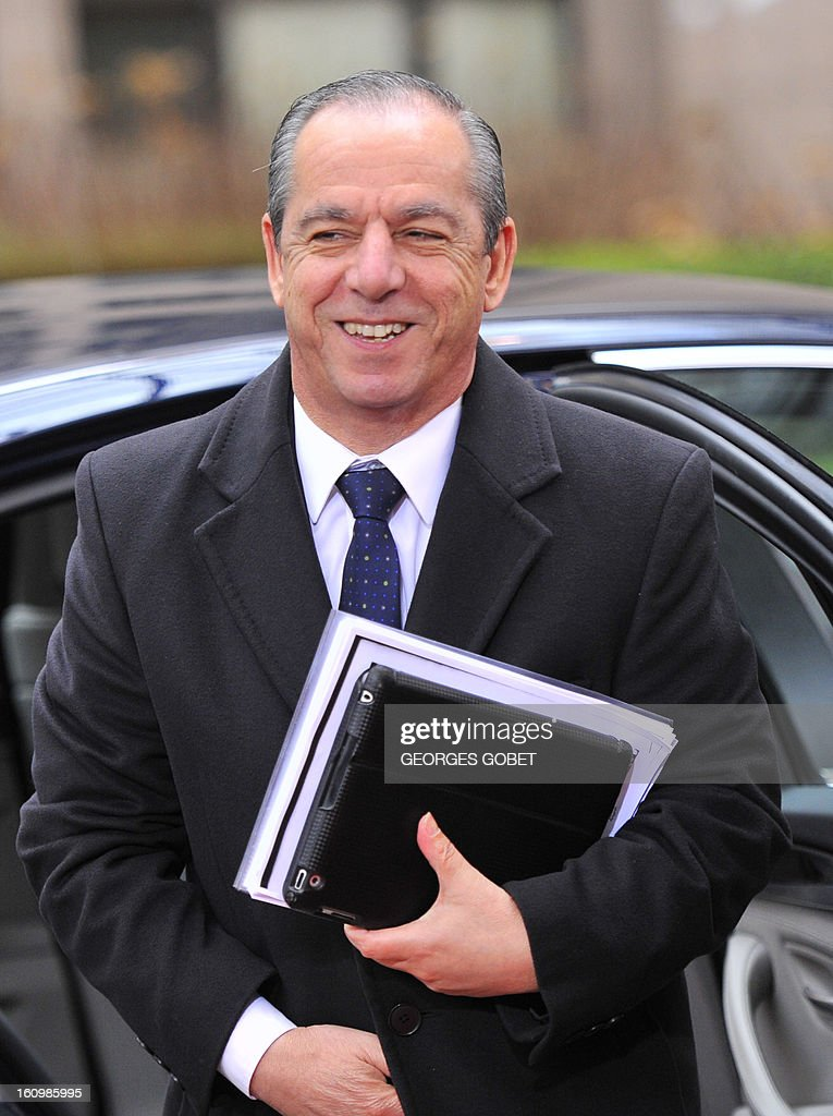 Maltese Prime Minister Lawrence Gonzi arrives at the EU Headquarters on February 8 2013 in Brussels on the last day of a twoday European Union...