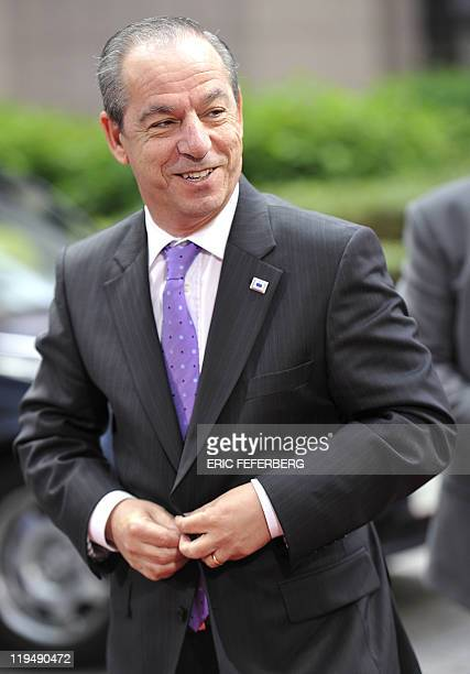 Maltese Prime Minister Lawrence Gonzi arrives for the EU summit on July 21 2010 at the European Council headquarters in BrusselsEurozone leaders...