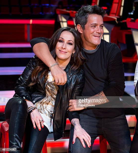 Malu and Alejandro Sanz present the new season of 'La Voz' at 'Picasso' studios on January 9 2015 in Madrid Spain