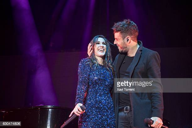 Malu and Pablo Lopez perform on stage at Palau Sant Jordi on December 23 2016 in Barcelona Spain