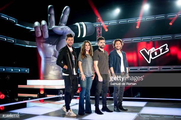 Malu Pablo Alboran Juanes and Manuel Carrasco during 'La Voz' 5th Edition and 'La Voz Kids' 4th Edition Presentation on July 19 2017 in Madrid Spain