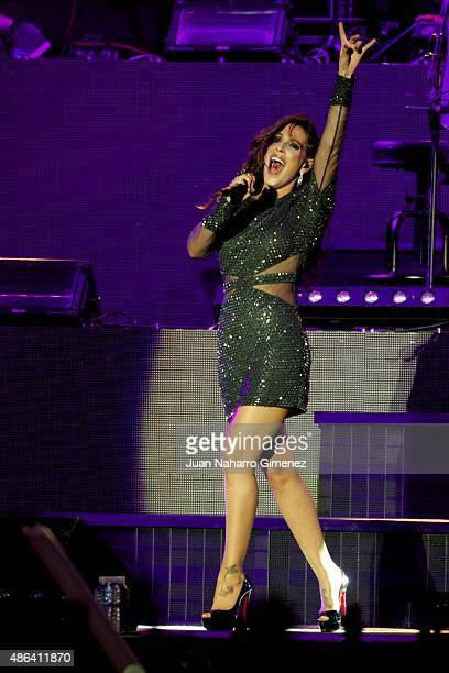 Malu performs on stage during 'Cadena Dial' 25th Anniversary concert at Barclaycard Center on September 3 2015 in Madrid Spain