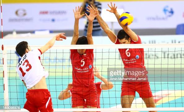 Maluf Caio of Lebanon and Farhad Ghaemi and Seyed Mohammad Mousavi of iran in Action during 17th Asian Men's Volleyball Championship between Iran And...