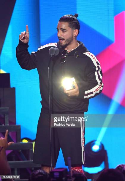 Maluma accepts an award during Univision's 'Premios Juventud' 2017 Celebrates The Hottest Musical Artists And Young Latinos ChangeMakers at Watsco...