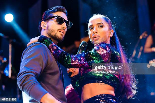 Maluma and Anitta performs live on stage at Espaco das Americas on April 30 2017 in Sao Paulo Brazil