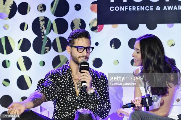 Maluma and Griselda Flores speak at the Billboard Latin Conference 2017 at Ritz Carlton South Beach on April 25 2017 in Miami Beach Florida