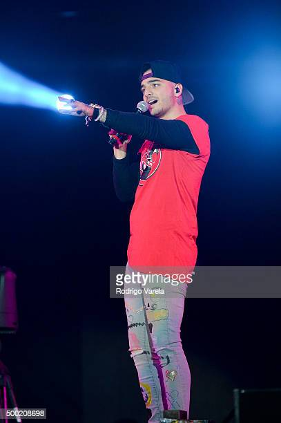 Maluma on stage at Grand Slam Party Latino at Marlins Park on December 5 2015 in Miami Florida