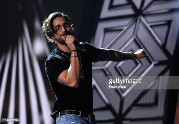 Maluma performs onstage during rehearsals for the 18th annual Latin Grammy Awards at MGM Grand Garden Arena on November 15 2017 in Las Vegas Nevada
