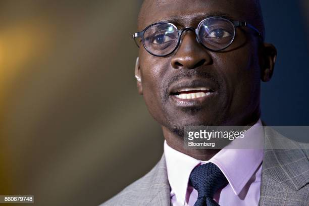 Malusi Gigaba South Africa's finance minister speaks during a Bloomberg Television interview at the International Monetary Fund and World Bank Group...