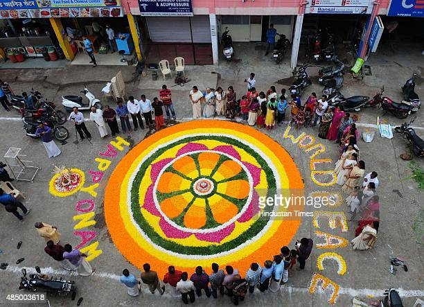 Malyali community of Mahabali Nagar decorated Bhopal`s biggest Pookkalam to welcome the emperor Mahabali ahead of Onam festival on August 23 2015 in...