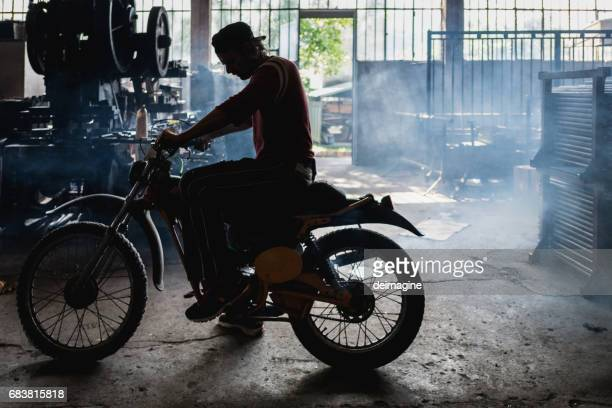 Mam Mechanic testing motorbike