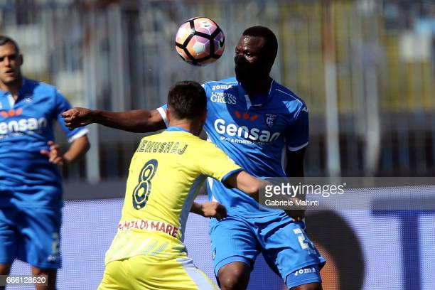 Mama Baba Thiam of Empoli Fc battles for the ball with Ledian Memushaj of Pescara Calcio during the Serie A match between Empoli FC and Pescara...