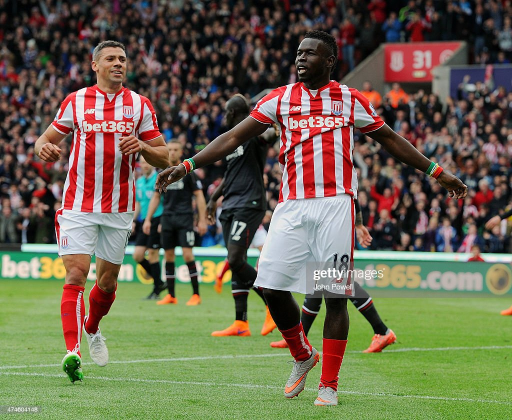 Mama Diouf of Stoke City celebrates after scoring during the Barclays Premier League match between Stoke City and Liverpool at the Britannia Stadium on May 24, 2015 in Stoke on Trent, England.