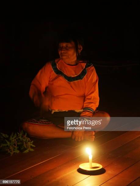 SAN FRANCISCO PUCALLPA UCAYALI PERU Mama Ida female Shaman of a Shipibo community in the Amazon jungle conduct a session of Ayahuasca The ceremonial...