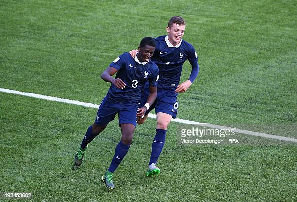 Mamadou Doucoure and Jean Ruiz of France celebrate Doucoure's goal during the New Zealand v France Group F FIFA 2015 U17 World Cup match at Estadio...