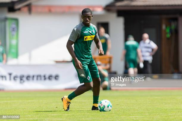 Mamadou Doucoure of Borussia Moenchengladbach controls the ball during a training session at the Training Camp of Borussia Moenchengladbach on July...