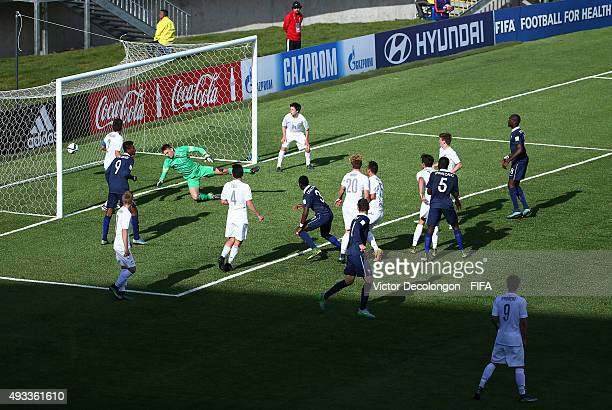 Mamadou Doucoure of France scores against New Zealand during the New Zealand v France Group F FIFA 2015 U17 World Cup match at Estadio Chinquihue on...
