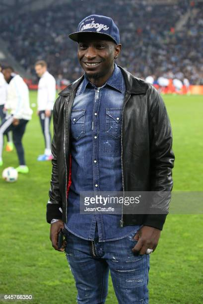 Mamadou Niang attends the French Ligue 1 match between Olympique de Marseille and Paris Saint Germain at Stade Velodrome on February 26 2017 in...